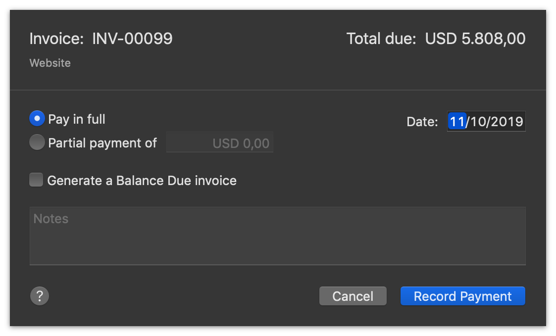 FreelanceStation Record Payment